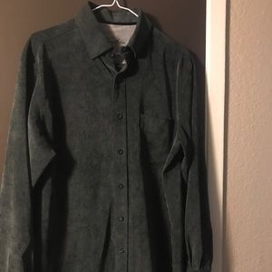Tasso Elba Corduroy Shirt Size M Medium Green